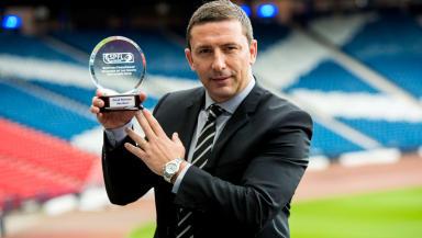 Aberdeen manager Derek McInnes is presented SPFL Premiership Manager of the Month award for September