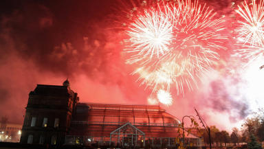 Fireworks over The People's Palace and Winter Gardens in Glasgow Green, Scotland, (Nov 5) to mark Guy Fawkes night in Scotland.