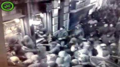 Ajax fans targeted Celtic supporters in the Old Sailor Cafe in Amsterdam's red light district. Footage from GeenStijl.nl/Dumpert.nl