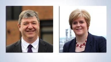 Alistair Carmichael and Nicola Sturgeon stv referendum debate composite image
