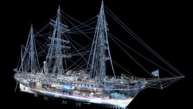 One of the first images produced from the 3D scan of RRS Discovery in Dundee.