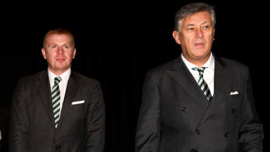 Celtic manager Neil Lennon and Chief Executive Peter Lawwell (right).