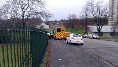 Bellrock Street, Cranhill Park, Glasgow. Site of body find, December 14 2013. STV image.