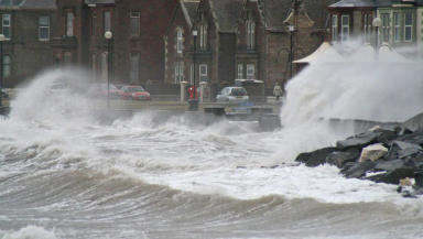Ardrossan seafront battered by high tides on January 3, 2014.