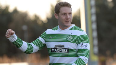 Delight for Celtic's Kris Commons after he opened the scoring just a few minutes into the game
