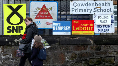 Cowdenbeath by-election campaign posters outside polling place January 23 2014