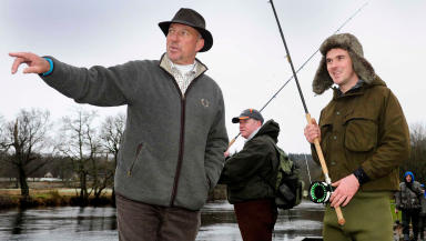 Ian Botham opens salmon season in Callander, Feb 1, 2014. Pic free to use from Stirling Council freelancer.