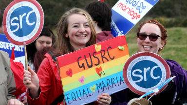 Equal Marriage supporters outside Holyrood, February 4 2014