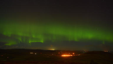 Image of Norther Lights over Shetland taken from Lerwick. 08/02/12. Picture by Malcolm Younger.