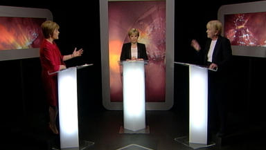 Johann Lamont, leader of the Scottish Labour Party, and Deputy First Minister Nicola Sturgeon on Scotland Tonight referendum special on 25 February 2014.
