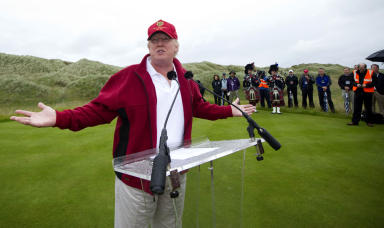 Donald Trump: Billionaire on visit to golf course in Aberdeenshire (file pic).