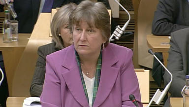 Annabel Goldie: Wearing new tartan at First Minister's Questions.
