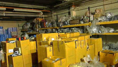 Police warehouse full of counterfeit goods in Glasgow.