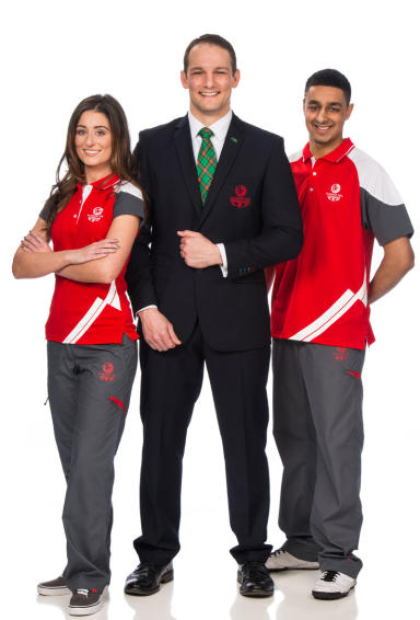 Glasgow 2014 uniform launch featuring members of staff  Arjan Singh, Taylor Sexton and Chief Executive David Grevemberg