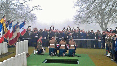 Private William McAleer being buried at the Commonwealth War Graves Commission Cemetery at Loos-en-Gohelle, near Lens.