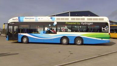 A screenshot of Aberdeen's new hydrogen bus, taken from our video.