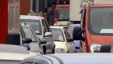 Traffic jam in city traffic cars buses