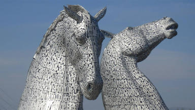 The Kelpies also feature in the piece