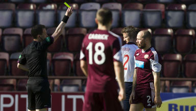 Jamie Hamill is shown a second yellow card against Ross County.