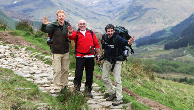 Kevin McKidd, Guy Cowan, Iain Robertson. Actors and chef climbing Ben Nevis for Scottish Cot Death Trust.