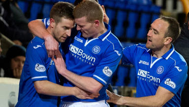 St Johnstone's Steven MacLean (left) is congratulated on his goal from team-mates Brian Easton (centre) and Lee Croft.