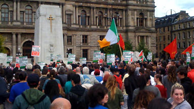 George Square: Hundreds joined protest against Israeli action.
