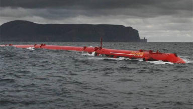 Wave power: a Pelamis prototype off Orkney