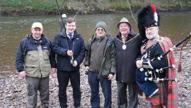 Ceremony: Provost Russell Clearie, Councillor Paul Kelly with Billy Gillan and Matt Mitchell from UCAPA