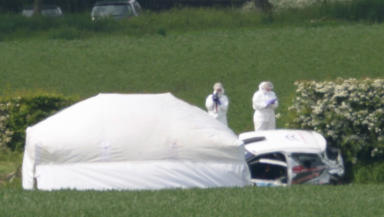 Crash scene where three people killed during a crash at the Jim Clark Rally near Little Swinton, Borders.
