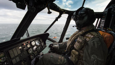 Royal Navy Sea King helicopter rescue Sunday June 1 2014 from inside helicopter