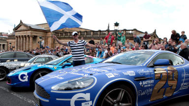 Car at the Gumball 3000 rally in Edinurgh June 8 2014