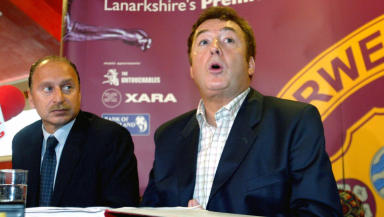Motherwell entered administration in 2002 and have since recovered, with Bryan Jackson (left) overseeing their revival.