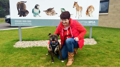Bolt (Chester) and his new owner Nikki