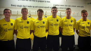 David Robertson, Rob Ogleby, Michael McKenna, Declan Gallagher, Jordan White,  Brad Donaldson, Livingston FC, July 2014.