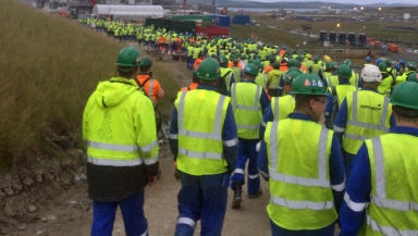 Workers on strike at Total's Shetland gas plant. Collect from anonymous worker.