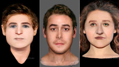 Facial reconstruction of three people found buried in a graveyard in Constitution Street, Leith, Edinburgh
