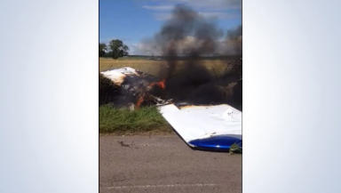 Grab of a video sent to us of the aftermath of a plane crash on the Isle of Bute, August 9, 2014.