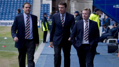 Departures: Ali Russell (left) and Gordon Smith (centre) with owner Craig Whyte.