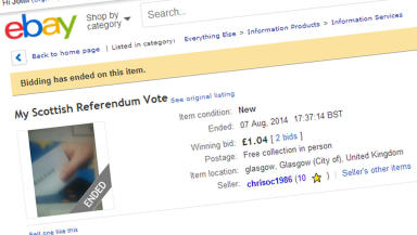 Scottish referendum vote listed on eBay August 28 2014. Screen grab from eBay website