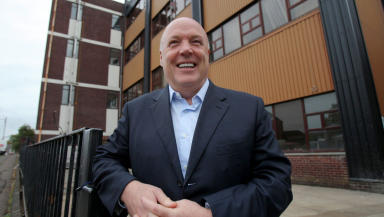 Businessman Jim McColl at opening of new vocational school at Newlands Junior College, Glasgow. September 23 2014