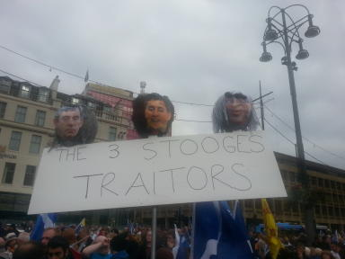 Hope Over Fear rally, traitors placard, 12 October 2014.