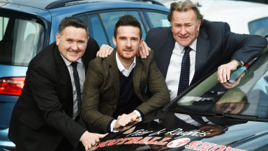 Former Old Firm star Barry Ferguson (centre) joins Peter Martin (left) and Alan Rough for the launch of Arnold Clark's sponsorship of The 'Peter and Roughie' Football Show