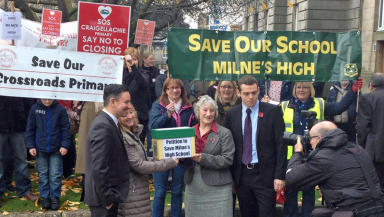 Campaigners against closure of Moray schools. SOURCE: Iain Rammage (STV) PERMISSION: Yes USAGE LIMITS: None DATE: October 11, 2014 QUALITY: Medium #CF14
