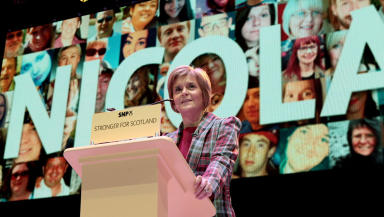 First Minister Nicola Sturgeon at Glasgow SSE Hydro SNP rally November 22 2014