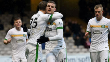 Anthony Stokes celebrates scoring for Celtic.