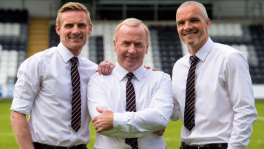 Tommy Craig (centre) is joined by player/coaches Jim Goodwin and Gary Teale
