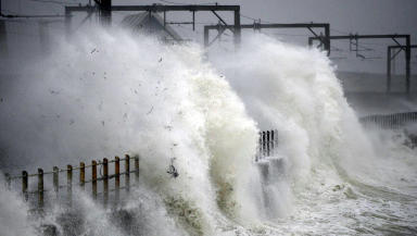 Ardrossan train line during storm with waves and high wind quality news image uploaded december 9 2014 #weathergeneric #wintergeneric