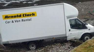 Arnold Clark van which ended up on beach on Isle of Lewis on January 9 2014.