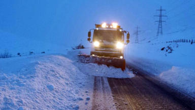 Snow plough in winter snow on the A9 uploaded January 16 2015 quality news image #wintergeneric winter2015 taken from @NWTrunkRoads on twitter with permission