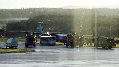 Inverness airport incident involving flybe dash-8 uploaded January 19 2015 pic from twitter user @IndiaGolfKilo used with permission. No credit.